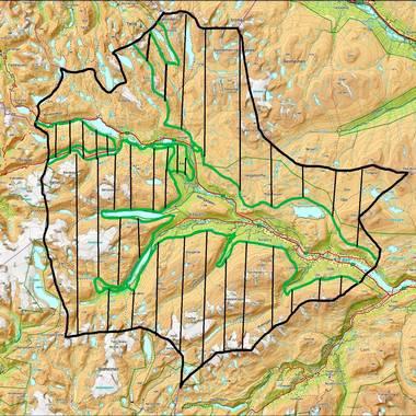 Det skraverte området syner dei delene av Skjåk som er verna. Kart: Jo Trygve Lyngved/Skjåk Almenning