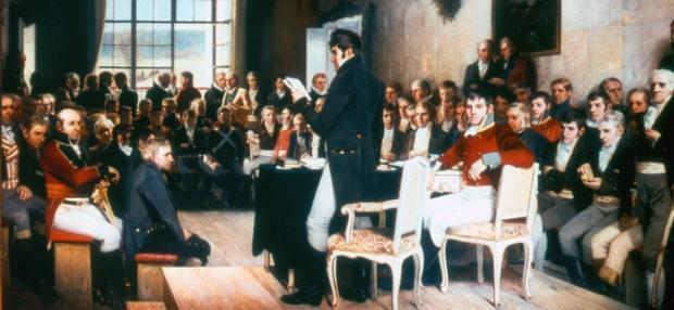 Eidsvollsmennene las skriftene til dei radikale filosofane med nyfiken interesse og let seg inspirere av revolusjonane og tidsånda